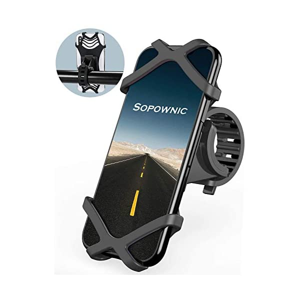 Sopownic 360° Rotation Universal Bike Phone Mount, Premium Silicone Smartphone Holder for Bicycle, Motorcycle. Cellphone Frame Compatible iPhone, Galaxy, Google Pixel, Nexus, Oneplus, LG and More.