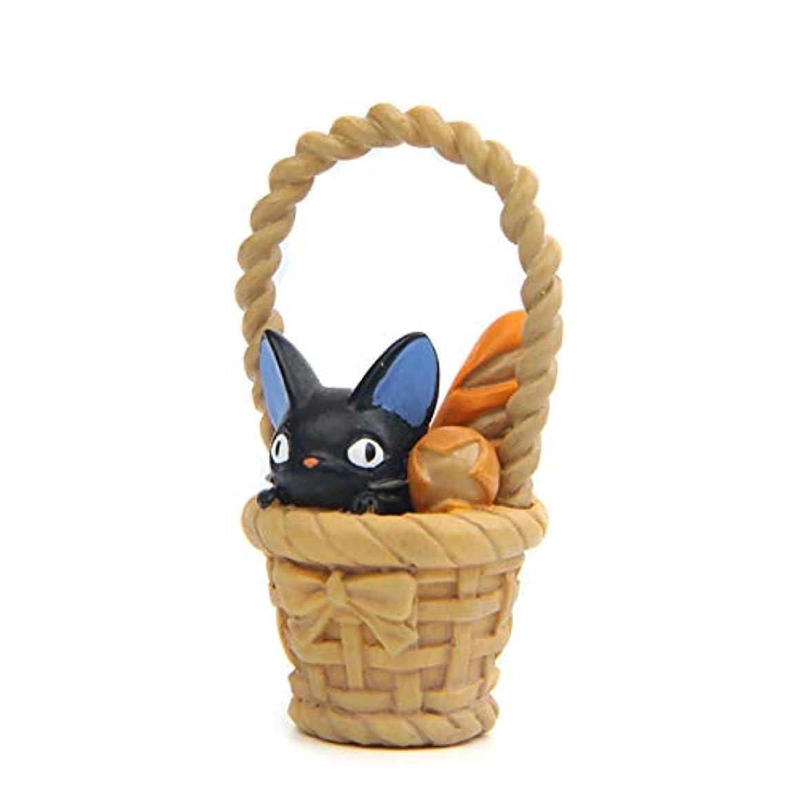 BoldType Kiki Cat - 1pcs Studio Ghibli Miyazaki Kiki's Delivery Service Cat Basket DIY PVC Action Figure Toys Model Kids Toy for Garden Ornaments 1 PCs