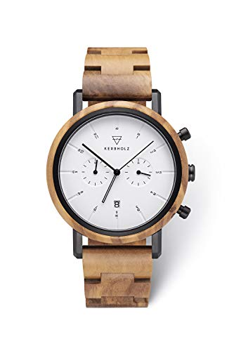KERBHOLZ orologio in legno - Classics Collezione Johann orologio analogico al quarzo, di alta gamma, da uomo, con cassa e cinturino regolabile interamente in legno naturale, Ø 45mm
