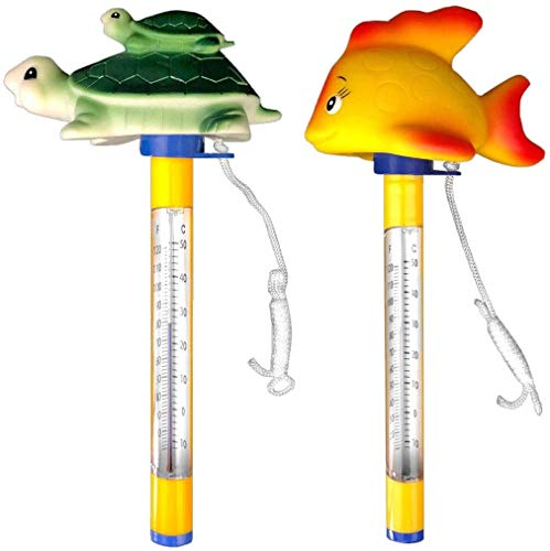 well2wellness® Poolthermometer Set Tier Pool Thermometer Goldfisch und Schildkröte