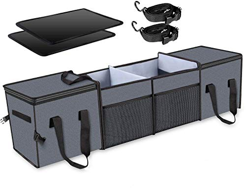 Mertonzo Organizador de maletero con tiras de velcro para comprar, llevar y empacar 115 * 28 * 28 cm Gris