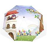 EW-OL Regenschirm-Mädchen in einem Spielhaus-Reisegolf Sun Rain Windproof-Regenschirme mit...