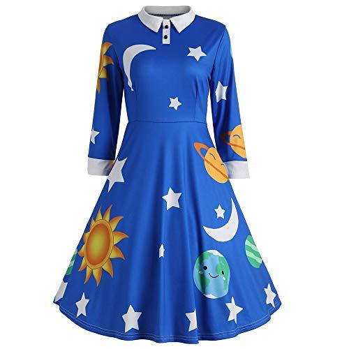 Women Vintage Peter Pan Collar Long Sleeve Print Button Flare A-Line Swing Dress(Blue,Medium)