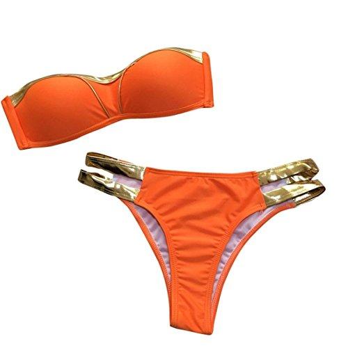 Traje De Baño De Mujer,RETUROM Sexy Bikinis Set Mujeres Gold Stamping Tankini...