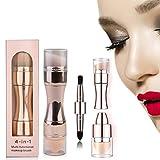 4 In 1 Multifunctional Portable Makeup Brushes, 4 In 1 Cosmetic Brush Retractable Set, Foundation Brush Eyeshadow Brush Blush Brush Lip Brush Set (Rose Gold)