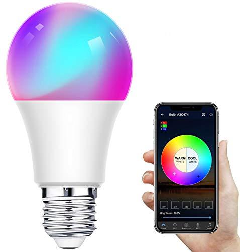 Bombilla LED Inteligente WiFi,Regulable 12W E27 Bombilla LED Luz,RGB Multicolor Bombilla Funciona con Alexa,Google Home,IFTTT,Control Remoto por Aplicación,1 Pack[Clase de eficiencia energética A+]