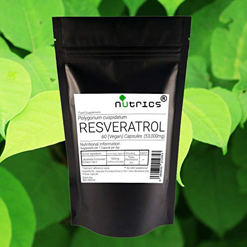 Nutrics Resveratrol Extract 530mg Veg Capsules (50% Trans Resveratrol 265mg) | 60 Capsules (2 Months Supply)| Made in The UK by Nutrics Laboratories | Suitable for Vegan Vegetarian Halal Kosher
