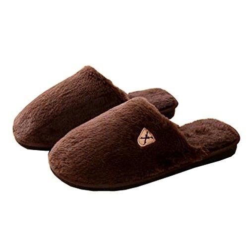 Hommes d'hiver et chaleureux Chaussures Indoor Maison Slipper, Marron