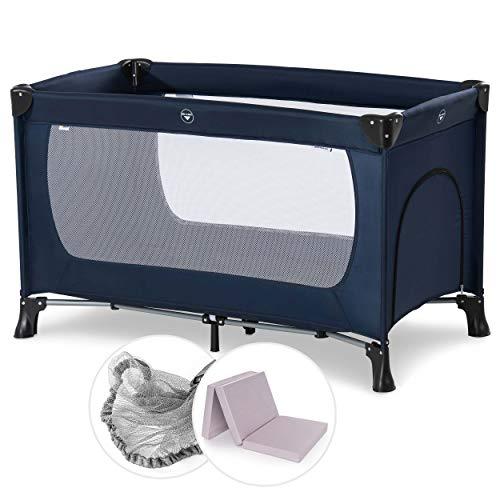 Hauck Baby Reisebett Set mit Matratze und Moskitonetz Dream n Play - faltbares Kinder Babyreisebett mit Tasche und seitlichem Eingang - Navy Blau
