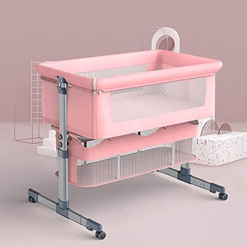 Ouumeis Verstellbar Babybett, Co-Sleeper Mit Rädern, Neugeborenen-Schlafbett Mit Moskitonetz, Einziehbaren Füßen Und Waschbarer Matratze, Abnehmbare Baby-Stubenwagen,Rosa
