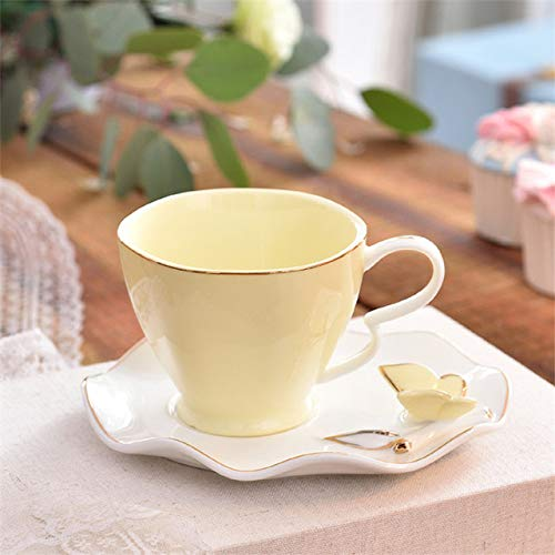 Chinese Coffee and butterfly ontwerp en elegante vogels, de lepel spel-cd, 220 ml glas van het Engels in Europa geurende keramiek porselein tea cup,gele vlinder