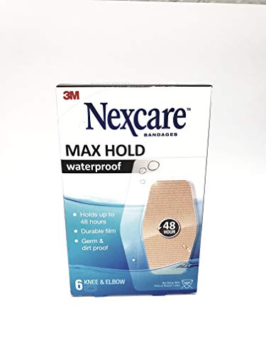 Nexcare Bandage Max Hold, Knee & Elbow 6 Count, 2.38 in x 3.5 in (60mm x 88mm), Transparent