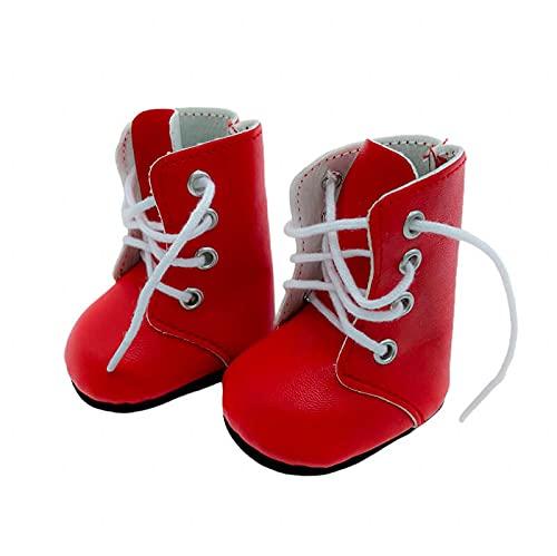 Folk Artesanía Par Botas Zapatos Piel Cordones para muñeca Tipo Nancy clásica Famosa, Sintra, Simona. Medidas 5.5x3.5 cm (Rojo)