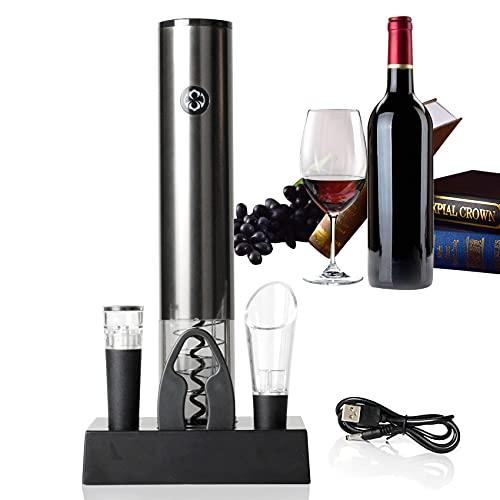 JeoPoom - Sacacorchos eléctrico con abridor de vino eléctrico, recargable, abridor automático con cortador de papel, vertedor, junta al vacío, base de almacenamiento