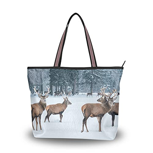 Borse a tracolla per le donne Beautiful Elf Sika Deer Tote Bags Grande borsa da spiaggia per le donne con cerniera per donna Lady Girls Adult