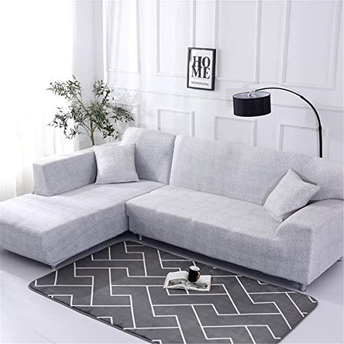 Funda Sofá Chaise Longue de 3 plazas Estiramiento, Morbuy Mármol Impresión Universal Cubierta de Sofá Cubre Sofá Funda Furniture Protector Antideslizante Sofa Couch Cover (2 plazas,Gris Blanco)