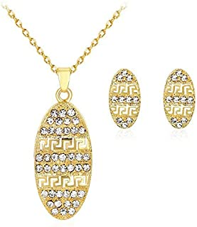 Grace 18k gold rhinestone drop chain wedding Proms necklace earring set