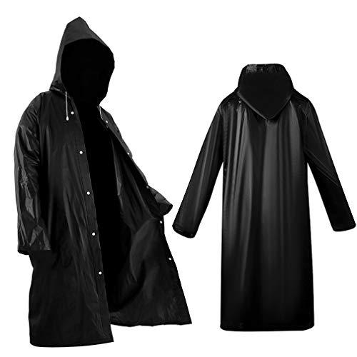 2 Pack Black Raincoat Portable Ponchos, Roctee Waterproof EVA Reusable Rain Jacket for Men and Women, Durable Rain Coats Long Sleeve Rain Poncho for Outdoor Activities, Large
