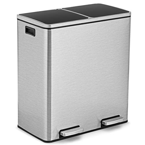 Goplus Dual Trash Can, 60 Liter (2x30L)/ 16 Gallon Stainless Steel Step Trash Can, Rectangular Garbage Bin with Inner Buckets and Hinged Lids, Suit for Kitchen Office Home Use