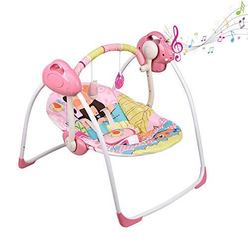 Cuna de música portátil plegable para bebé con patrón de mono, 6 velocidades de swing, 16 melodías y una mosquitera, rosa