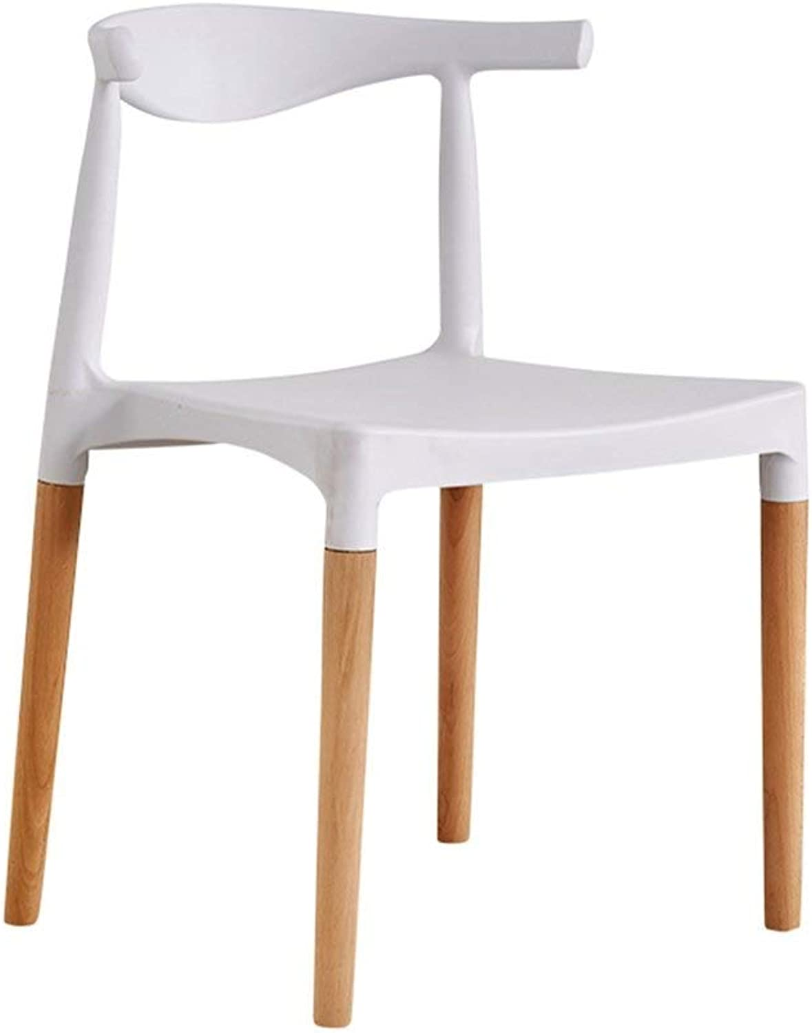 MMAXZ Solid Wood Dining Chair, Plastic Breakfast Stool Home Bar Chair Creative with Backrest Chair Reception Chair Adult Computer Chair White, for Kitchen, Restaurant, Cafe, Bar