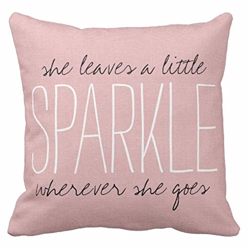 Emvency Throw Pillow Cover Cute Burlap Pink Blush Sparkle Monogram Decorative Pillow Case Home Decor Square 16 x 16 Inch Pillowcase