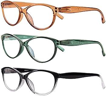 URLAUB Reading Glasses Women +1.0 Blue Light Blocking 3 pack Womens Computer Readers Eyeglass Spring Hinge Anti Glare Eyestrain
