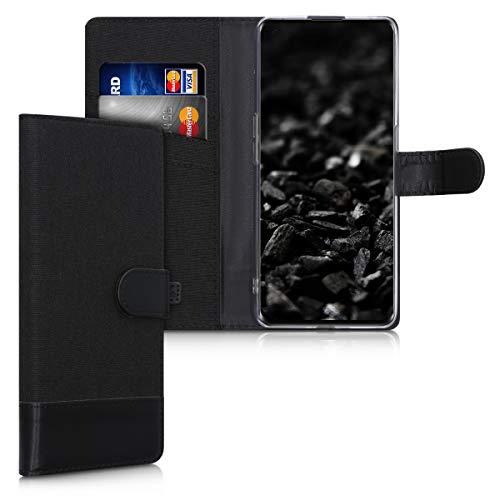 kwmobile Wallet Hülle kompatibel mit Oppo Find X2 Neo - Hülle mit Ständer - Handyhülle Kartenfächer Anthrazit Schwarz