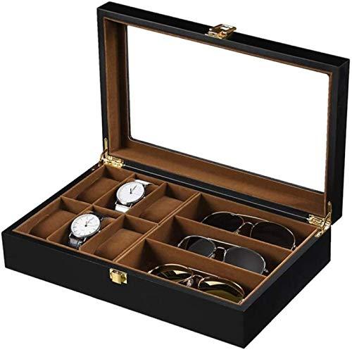 ANZRY Reloj Caja de Almacenamiento Gafas de Sol Almacenamiento Pendientes Organizador de Almacenamiento Bloqueable con Tapa de Vidrio Caja de Reloj Caja de Reloj Joyas