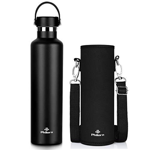 PHILORN Trinkflaschen 1000ML Thermosflaschen Rostfreier Stahl Thermoskanne Isolierflasche Isolierte Edelstahl Wasserflaschen 12 Stunden heiß halten mit 2 Kappen 1 Umhängetasche (Schwarz)