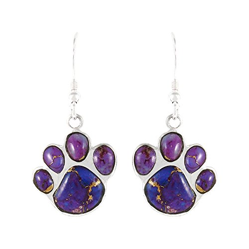 Dog Paw Purple Turquoise Earrings in Sterling Silver & Genuine Turquoise (Purple)