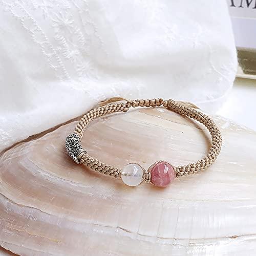 Fengshui Natural curación Pulsera de Cristal 7a Afortunado Encanto Equilibrio Pulsera Cuerda Tejida Lunar Piedra joyería Amuleto atrae Dinero Prosperidad Suerte,Rosado