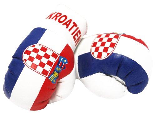 Sportfanshop24 Mini Boxhandschuhe Kroatien, 1 Paar (2 Stück) Miniboxhandschuhe z. B. für Auto-Innenspiegel