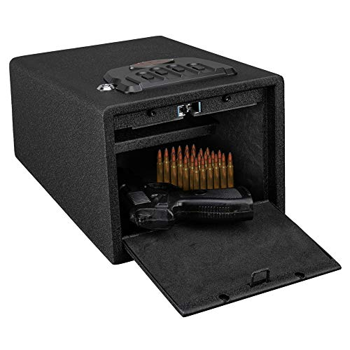 Best Review Of Bonnlo Quick Access Pistol Safe Handgun Safe Firearm Safety Device Compact Gun Safe with Auto-Open Lid and Alarm-U Security Alarm
