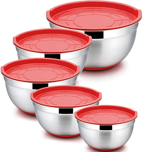 Homikit Rührschüssel Set, 5-teilig Salatschüssel Schüssel Set aus Edelstahl, mit Rot Deckel und Silikonboden, Multifunktional, Stapelbar, Spülmaschinenfest, 8 L / 5 L / 3 L / 2.5 L / 1.5 L