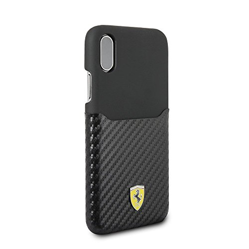 Ferrari iPhone X & iPhone Xs Case - by CG Mobile - Black Cell Phone Case PU Leather with PU Carbon Fiber | Easily Accessible Ports | Officially Licensed.
