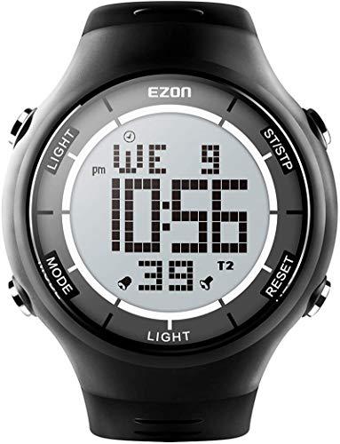 EZON Digital Outdoor Sports Watch with Stopwatches, Waterproof, Unisex Ultra-Thin Wristwatch (Black)