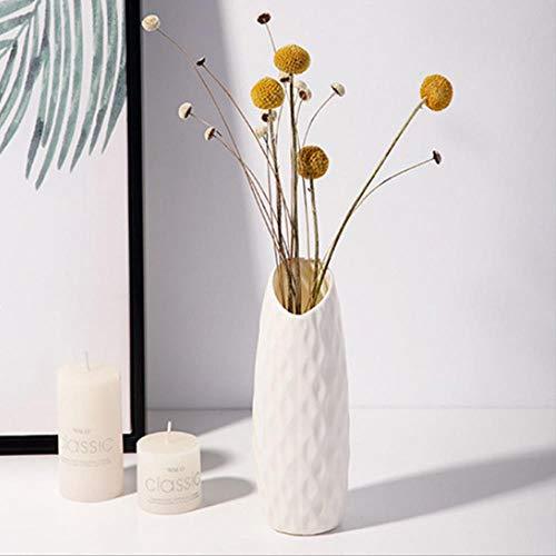 Jarrón irrompible de cerámica de imitación para decoración de origami, floreros de plástico blanco lechoso para decoración del hogar, decoración blanca