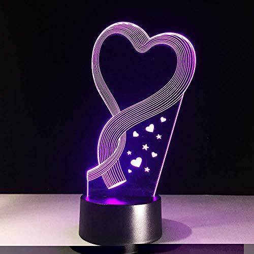 Kleurrijke LED-bedlampje met 3D-hart-design, romantische bedlampje voor op vakantie, nachtlampje voor kinderen, nachtkastje, verlichting als geschenk voor bruiloft, decoratie voor thuis