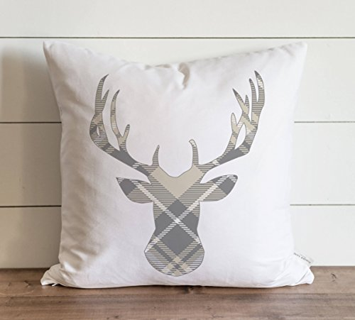 Gray & Cream Plaid Deer Pillow Cover Christmas Holiday Winter Throw Pillow Gift Accent Pillow Case Cushion Pillowcase with Hidden Zipper Closure for Sofa Home Decor 26 x 26 Inches