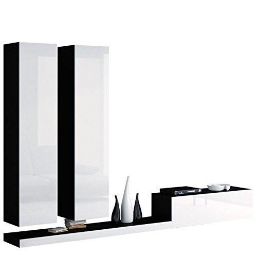 Modernes Wohnwand Pixel IV, Wohnzimmer Set, Anbauwand, Fernsehschrank, Design Mediawand, Hängeschrank, TV Lowboard, TV Tische (Schwarz/Weiß Hochglanz)