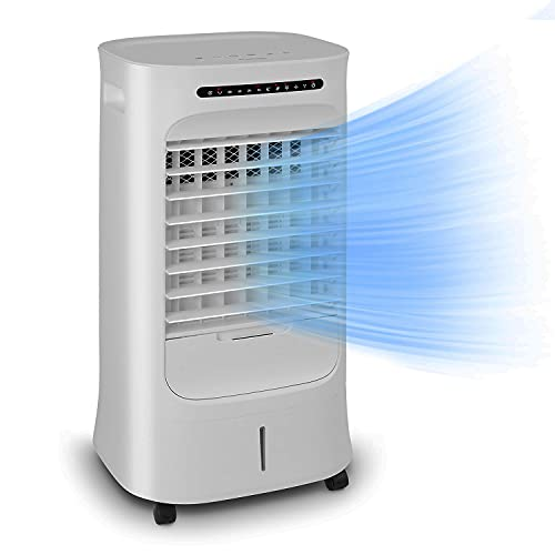Klarstein Iceberg Breeze enfriador, ventilador, depósito grande: 10 litros, potencia: 65 W, 3 velocidades, 3 modos, 283 m³/h, compacto, programable, mando a distancia, gris