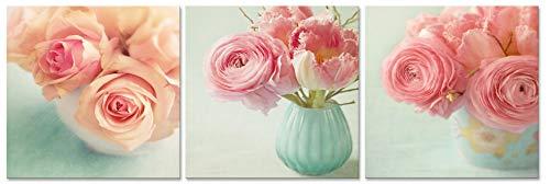 CUFUN Art - Rosas Rosadas en florero Verde Menta Impresiones de Fotos