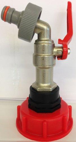 Kugelhahn aus Metall AMS60133MK3+99, mit Schraubdeckel und Stecker für Behälter, Regentonnen, Zisternen von Gardena/IBC