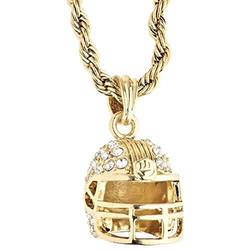 .iced-out. Bling Rope Kordelkette - 3D Football Helm Gold
