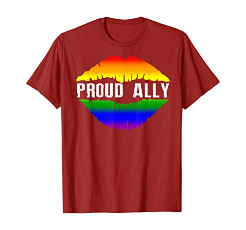 Tengyuntong Camisetas y Tops Polos y Camisas, Proud Ally Pride Gay LGBT Day Month Parade Rainbow Lips Camiseta
