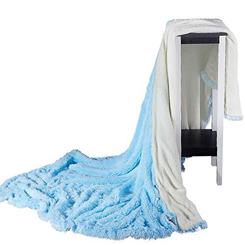 SIKESONG Long Super Doux Fluffy des Pierres Élégant Canapé Lit Couverture Couverture Bleu 180×200Cm