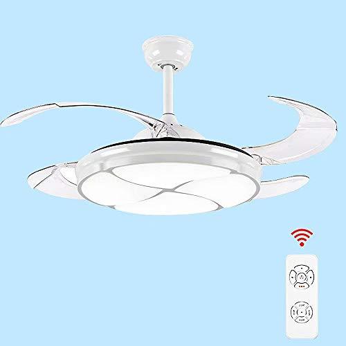 Ventilador de techo de 42 'con luz 4 aspas retráctiles Fandelier Candelabro LED Control remoto 3 cambios de color Ventiladores de techo silenciosos Accesorio de iluminación,fuente de luz LED,72W