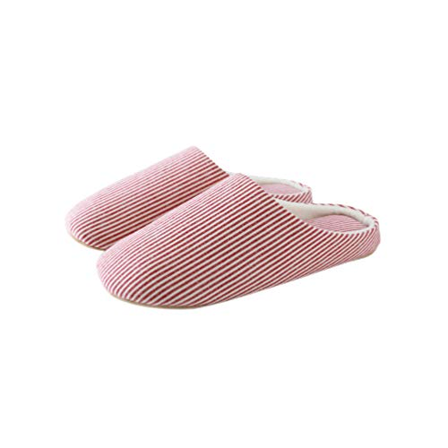 TENDYCOCO Unisex Stripe Cozy Slippers Indoor Japanese Style Fluffy Shoes Loafer for Women Men-Red 36-37