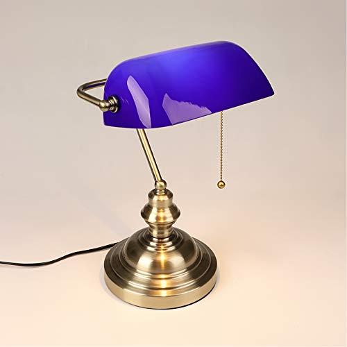 WRMING Lampe de Banquier Verte Vintage, Lampe de Bureau Antique Traditionnelle avec Interrupteur, Lampe de Table Chambre, Abat-Jour en Verre Ajustable, Finition en Bronze, E27,Bleu